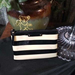 Kate Spade cosmetic bag black and white striped